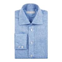 Linen Shirts, Long Sleeved - Aqua Blue