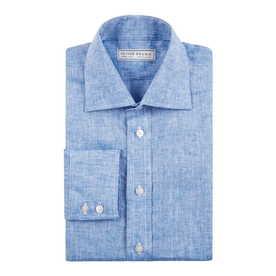 Linen Shirts, Long Sleeved - Aqua Blue