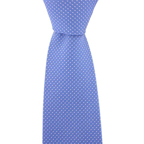 Polka Dot Tie, Printed Silk - Blue