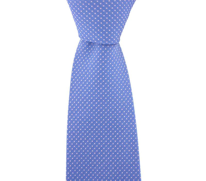 Polka Dot Tie, Printed Silk - Blue