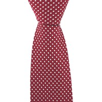 Polka Dot Tie, Printed Silk - Red