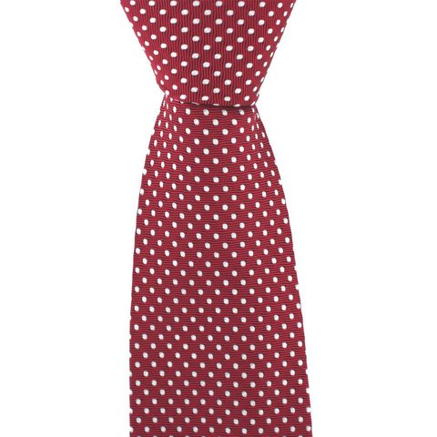 Polka Dot Tie, Printed Silk - Red