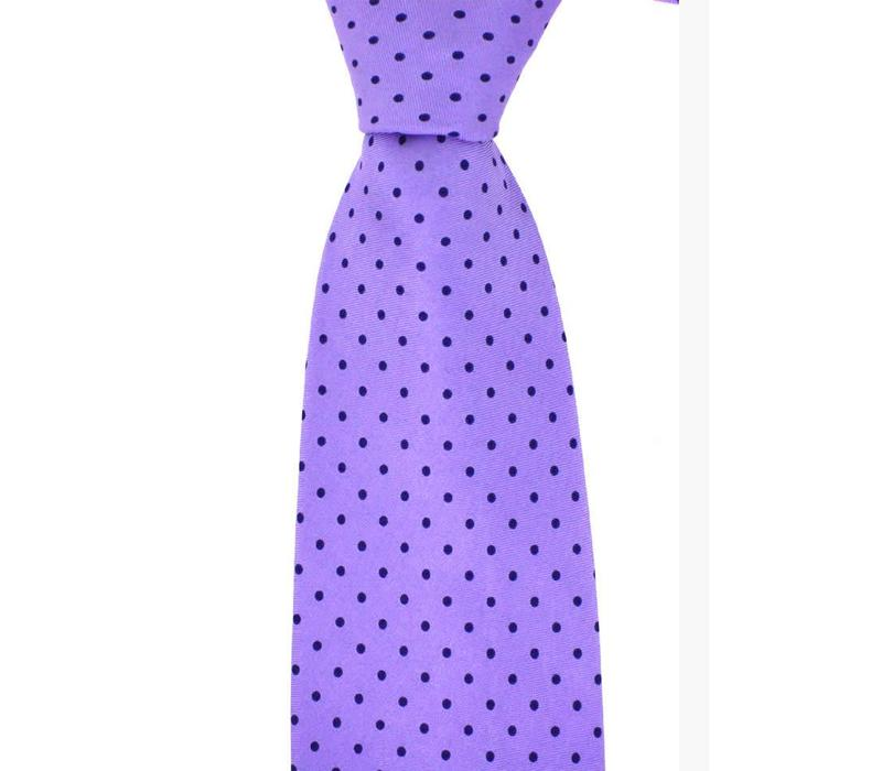 Polka Dot Tie, Printed Silk - Purple