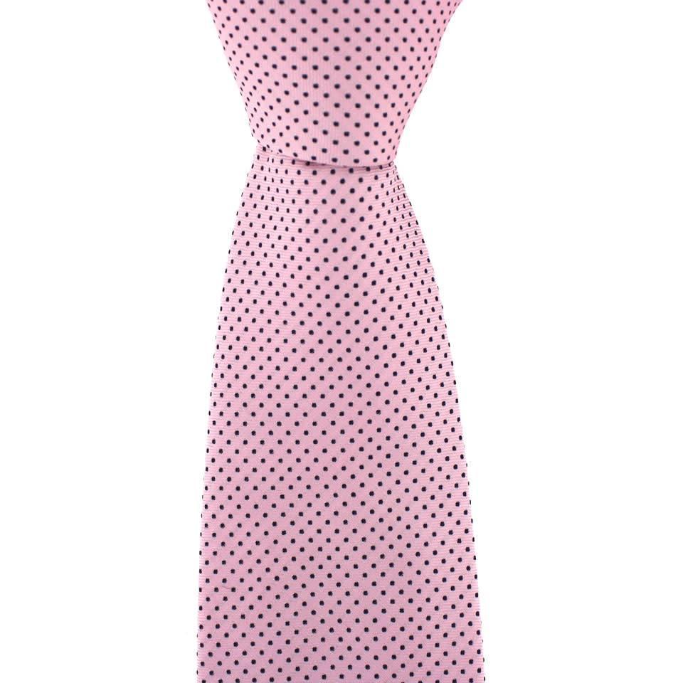 Polka Dot Tie, Printed Silk - Pink