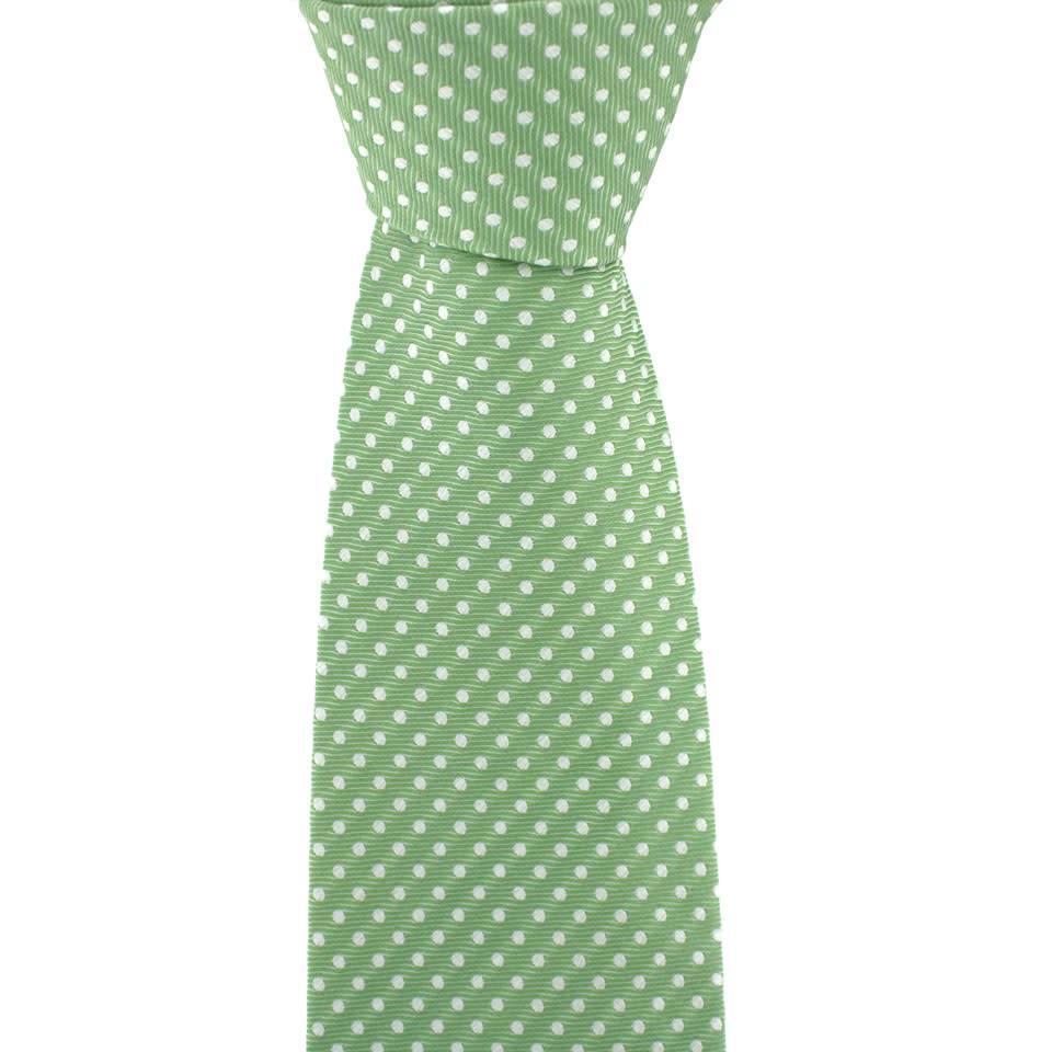 Polka Dot Tie, Printed Silk - Green