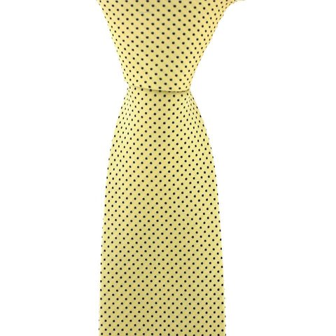 Polka Dot Tie, Printed Silk - Yellow with Fine Black Spots