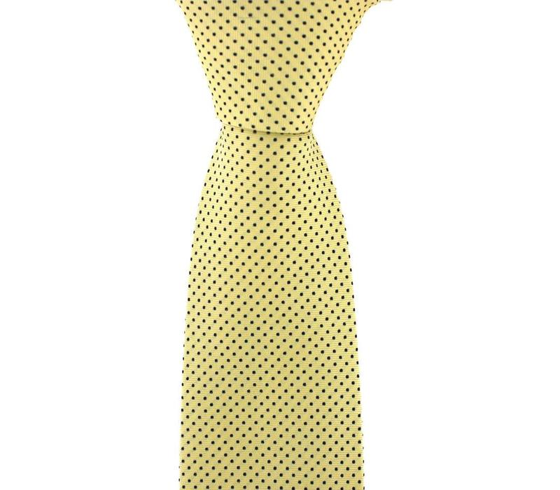 Polka Dot Tie, Printed Silk - Yellow with Fine Black Spots