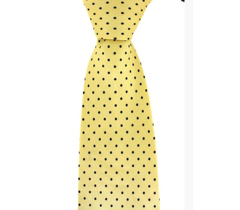 Polka Dot Tie, Printed Silk - Yellow with Black Spots