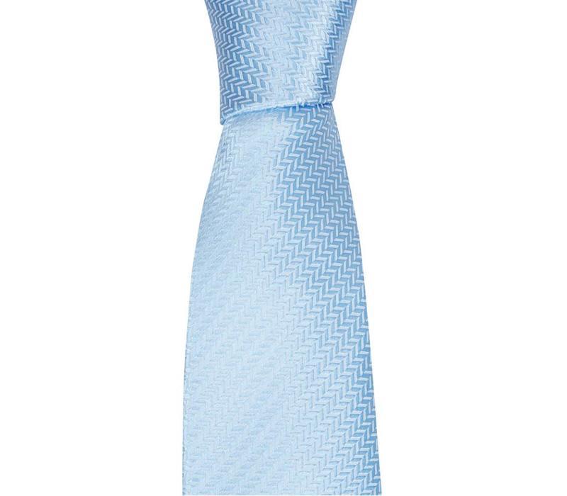 Woven Silk Tie, Herringbone - Pale Blue