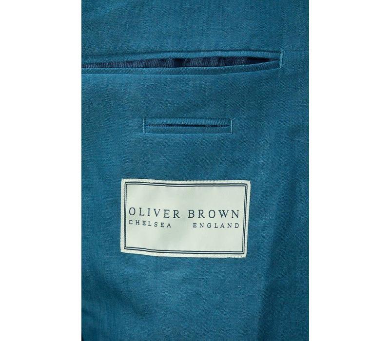 Un-lined Linen Jacket - Metal Blue