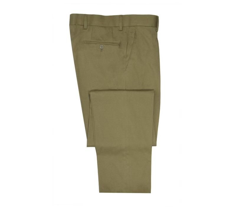 Flat Front Cotton Drill Trousers - Dark Beige