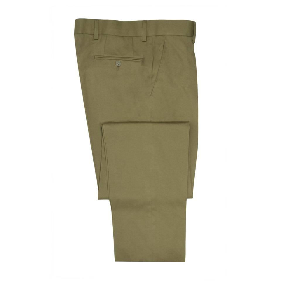 Flat Front Cotton Drill Trousers - Dark Beige
