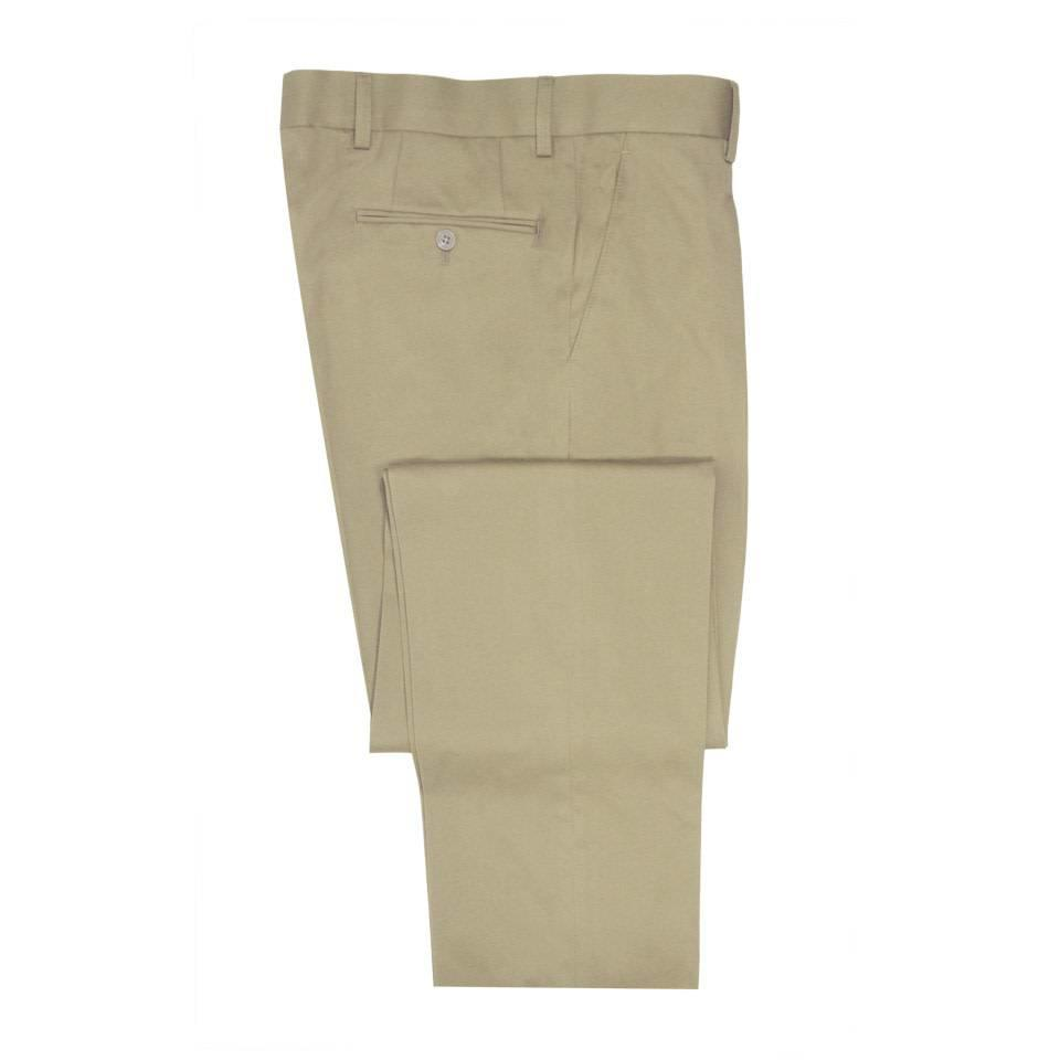Flat Front Trousers - Cream Cotton Drill