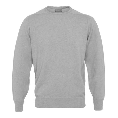 Merino Crew Neck Jumper - Light Grey Mix