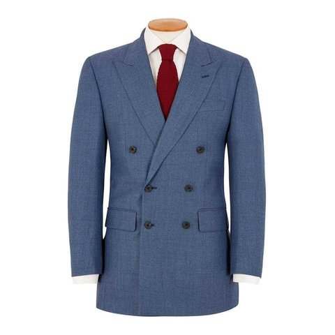 Lightweight Double Breasted Birdseye Suit - Royal Blue