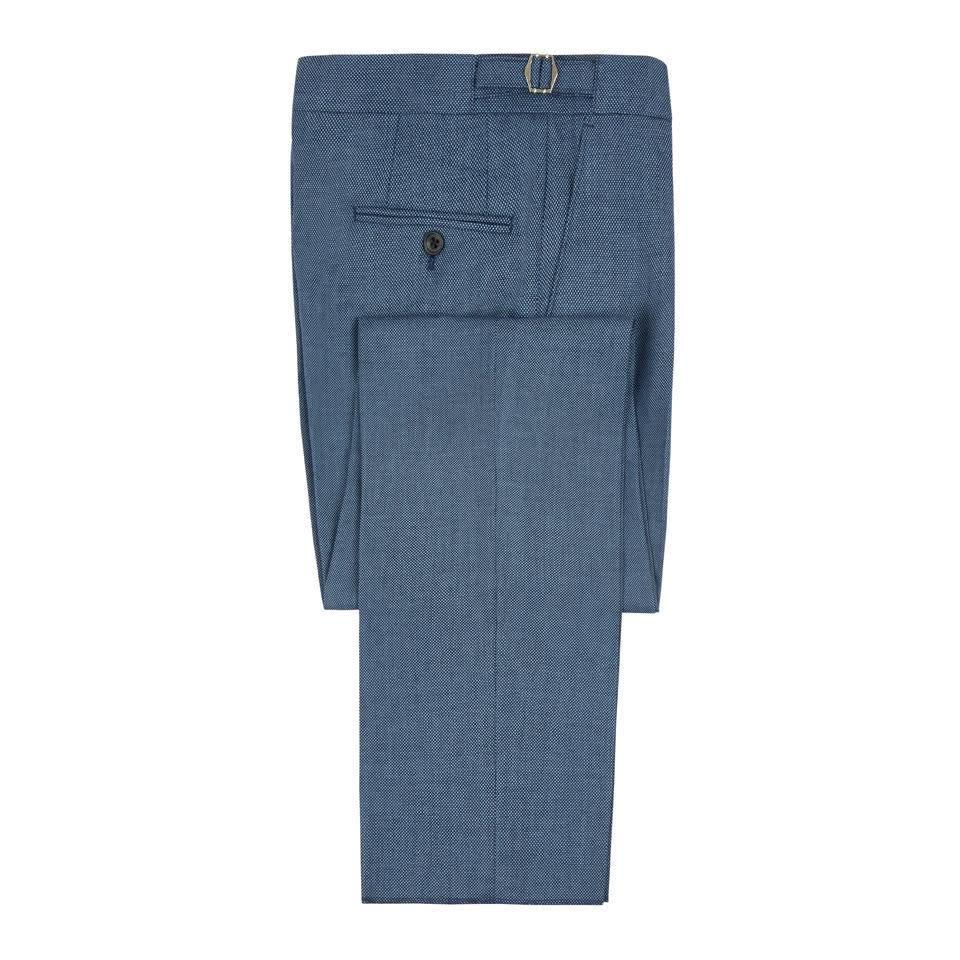 Pleated Suit Trousers - Royal Blue Birdseye