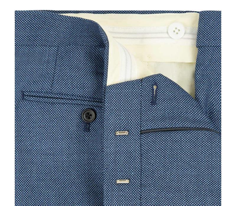 Pleated Suit Trousers - Royal Blue Birdseye