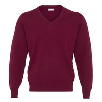 Lambswool V Neck Jumper with Suede Patches - Bordeaux