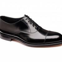 Elgin Black Leather Cap Oxford