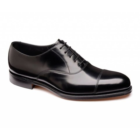 Elgin Black Leather Cap Oxford