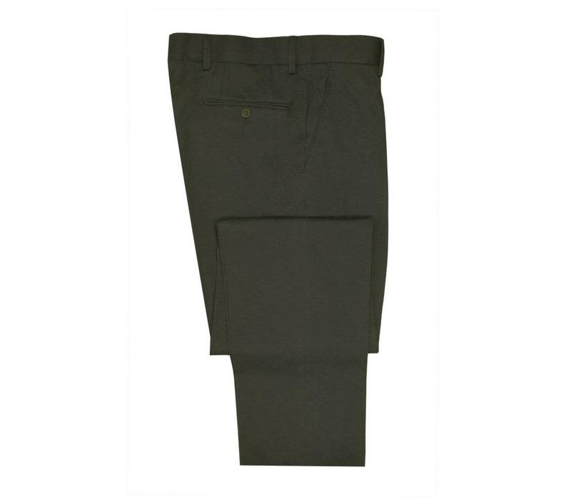 Flat Front Trousers - Olive Cotton Drill