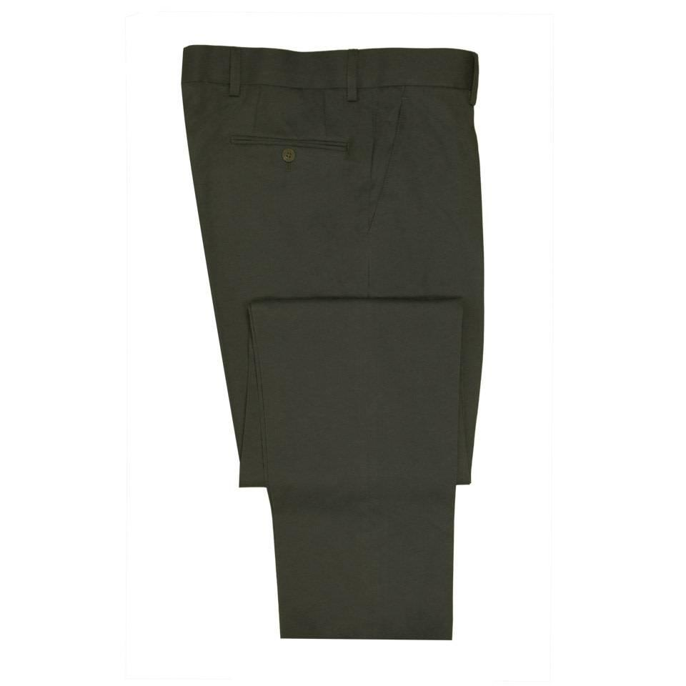 Flat Front Cotton Drill Trousers - Olive