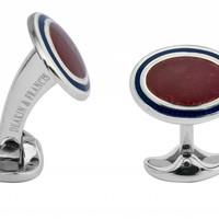 Sterling Silver White, Navy & Deep Pink Enamel Cufflinks