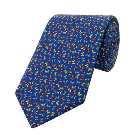 Fine Silk Tie, Butterfly - Mid Blue