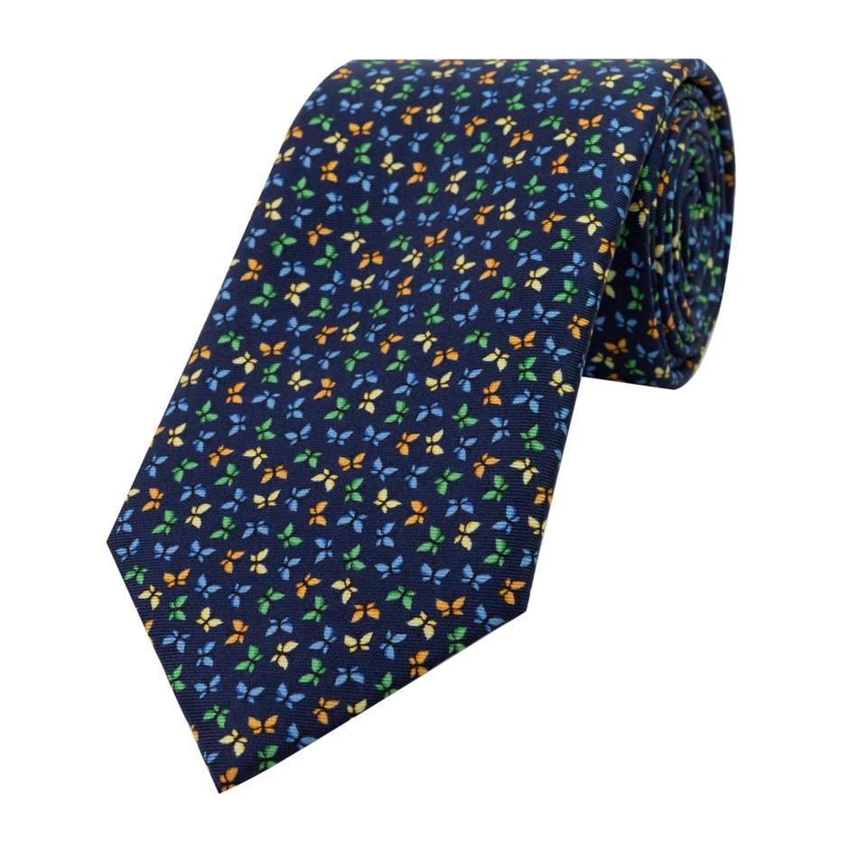 Fine Silk Tie, Butterfly - Navy