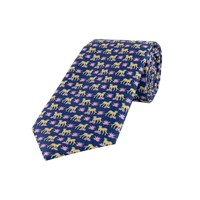 Fine Silk Tie, Leopard - Navy and Lilac