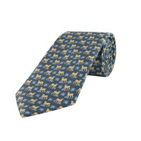 Fine Silk Tie, Leopard - Grey and Pale Blue