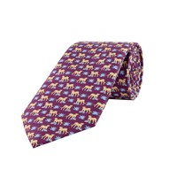Fine Silk Tie, Leopard - Purple and Blue