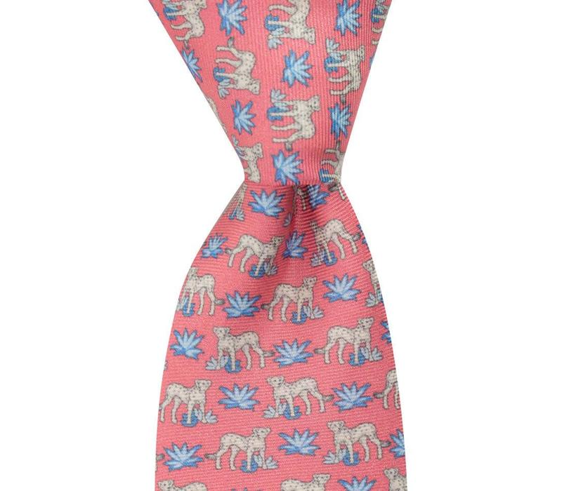 Fine Silk Tie, Leopard - Pink and Blue