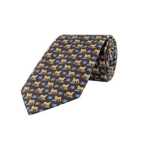 Fine Silk Tie, Leopard - Brown and Blue