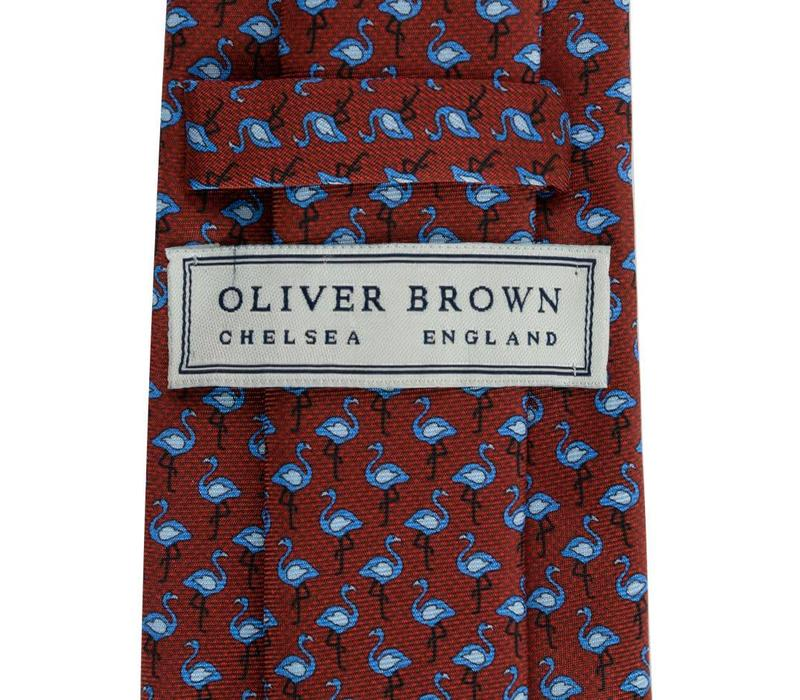 Fine Silk Tie, Flamingo - Wine and Blue