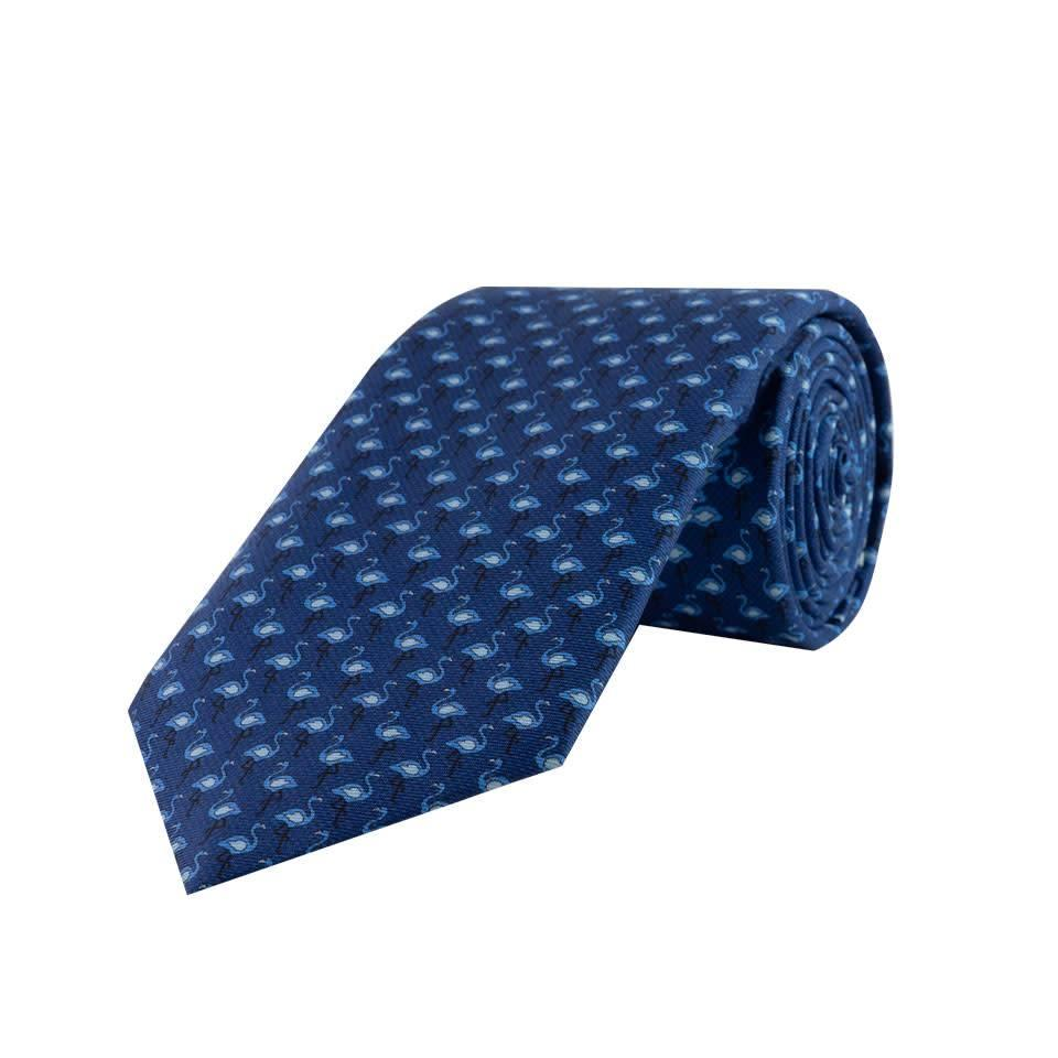 Fine Silk Tie, Flamingo - Navy and Sky