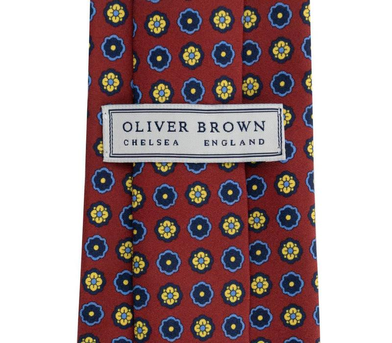 Madder Silk Tie, Flower - Wine and Yellow
