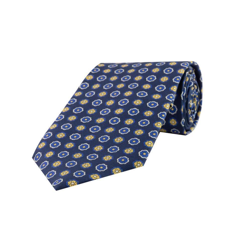 Madder Silk Tie, Flower - Navy and Yellow