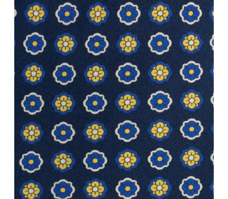 Madder Silk Tie, Flower - Navy and Yellow