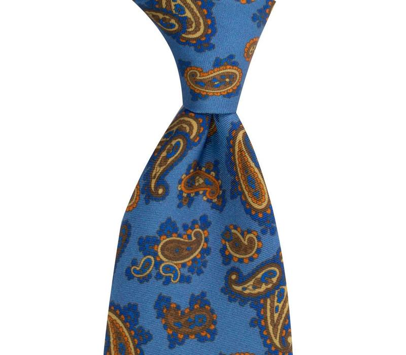 Madder Silk Tie, Paisley - Sky and Yellow
