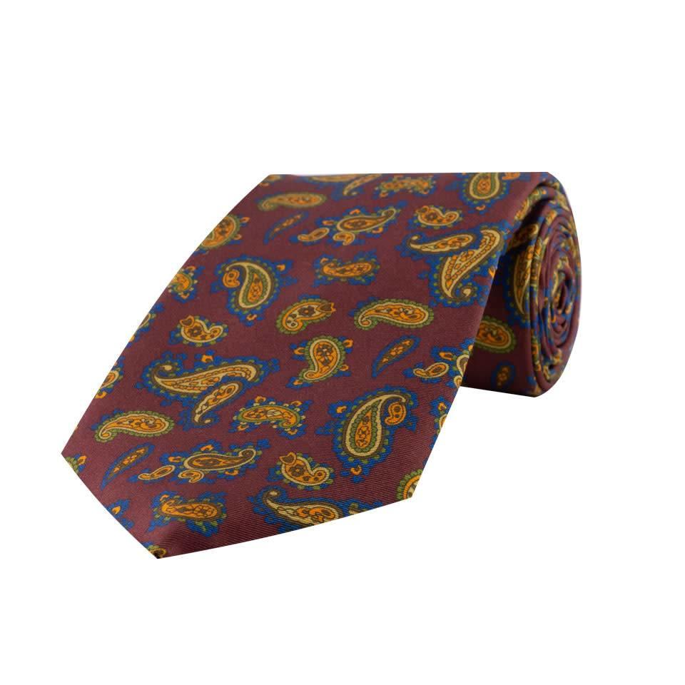 Madder Silk Tie, Paisley - Wine and Mustard