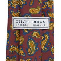 Madder Silk Tie, Paisley - Wine and Mustard