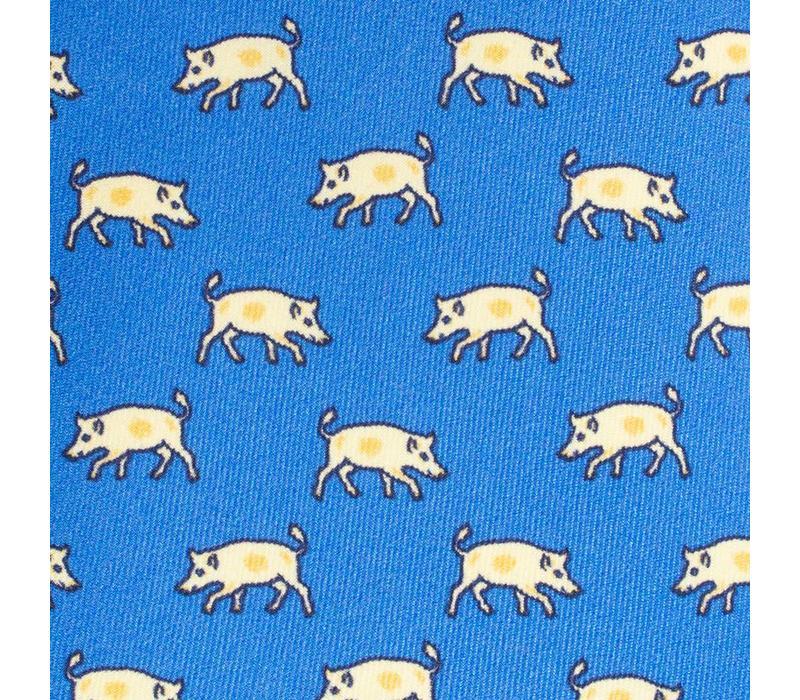 Printed Silk Tie, Pig - Sky and White