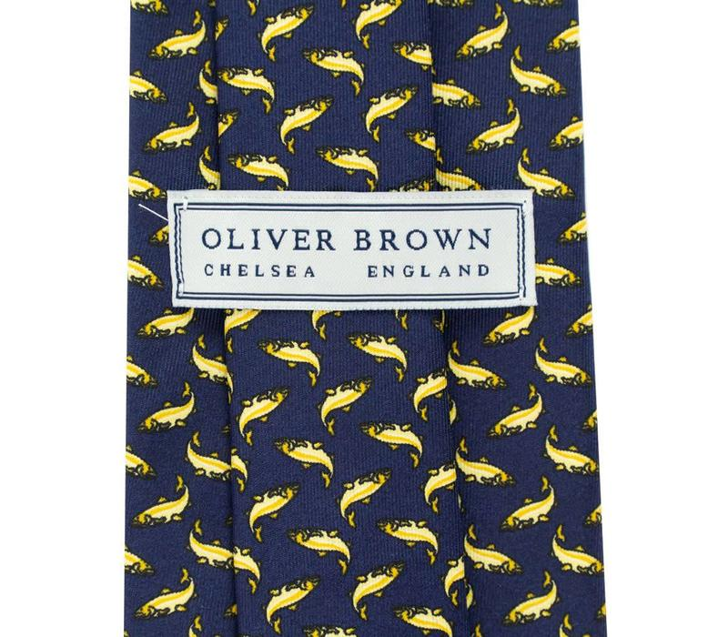 Printed Silk Tie, Salmon - Navy and Yellow