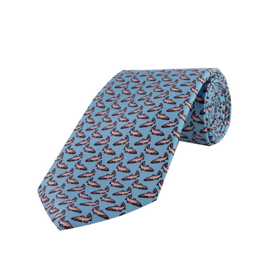Printed Silk Tie, Salmon - Sky and Pink
