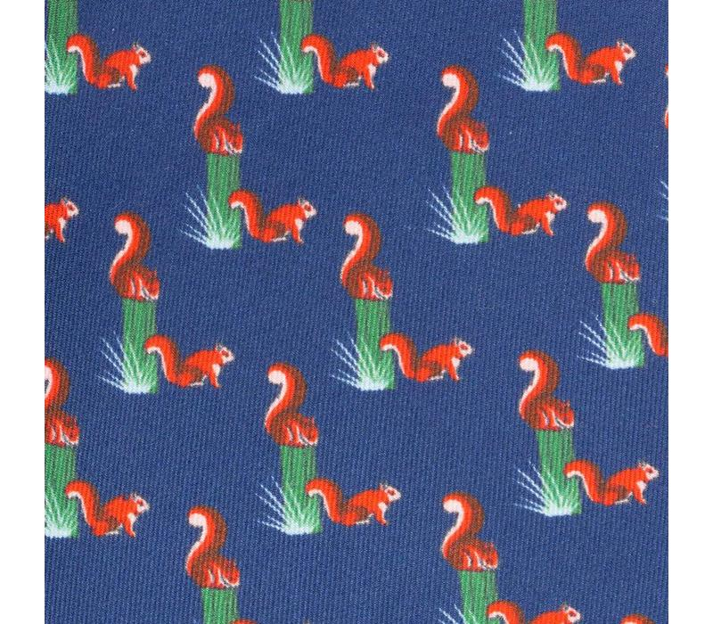 Printed Silk Tie, Squirrel - Navy and Red