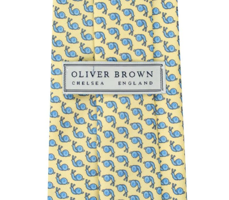 Printed Silk Tie, Snail - Yellow and Blue