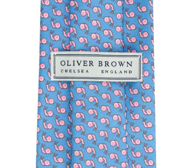 Printed Silk Tie, Snail - Sky and Pink