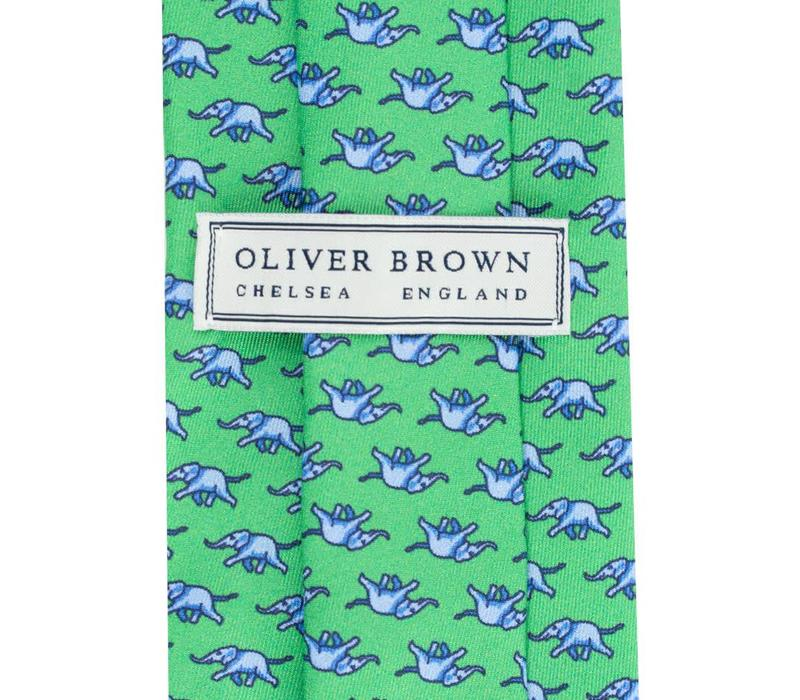 Printed Silk Tie, Elephant - Green and Blue