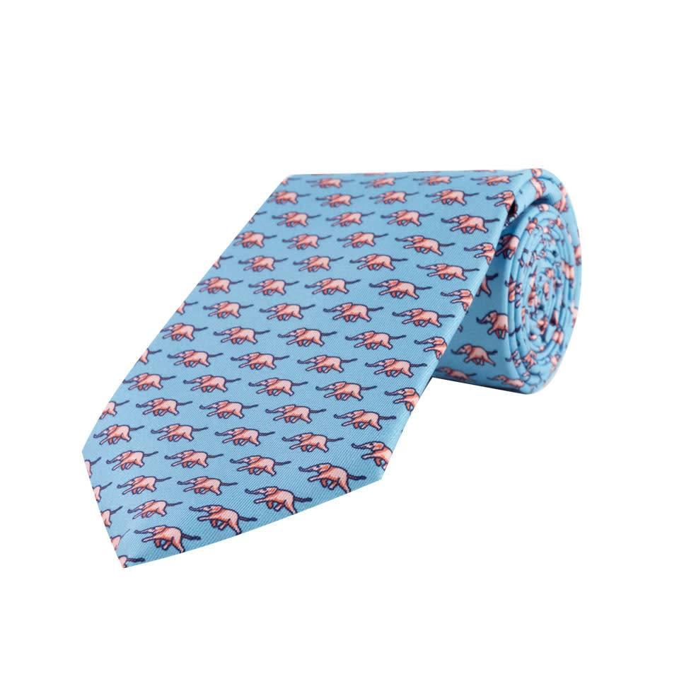 Printed Silk Tie, Elephant - Sky and Pink